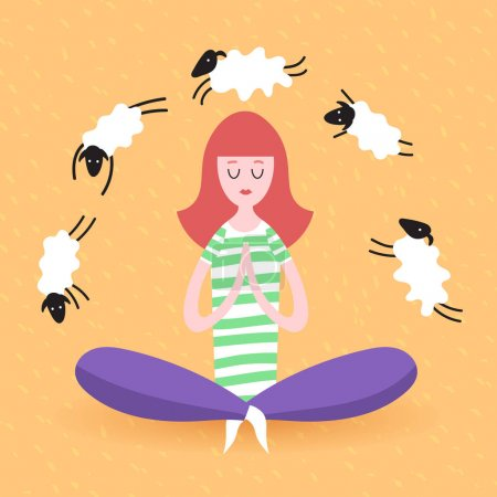 Illustration for Cartoon girl is doing yoga and meditation. Concept of peace in mind, sleep and dream, humor. - Royalty Free Image