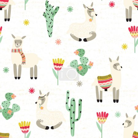 Seamless pattern with lama and cactus