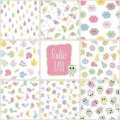 Set of cute baby seamless pattern