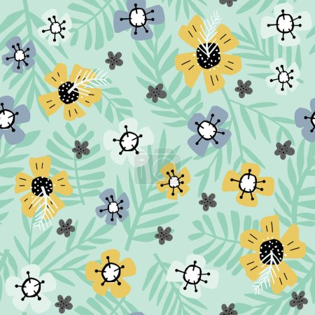Illustration for Simple flowers and leaves handdrawn seamless pattern on green background. Botanical color vector backdrop in a cartoon style. - Royalty Free Image