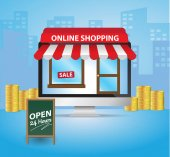 Internet online shopping open 24 hours with desktop computer e-commerce concept vector