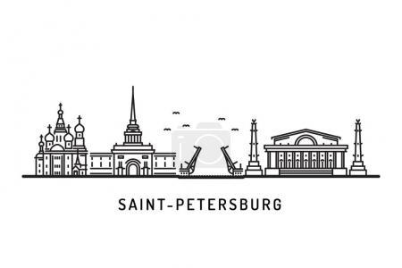 Illustration pour Saint-Pétersbourg, Russie points de repère d'horizon détaillés. Voyages et tourisme. Illustration vectorielle monuments architecturaux - image libre de droit