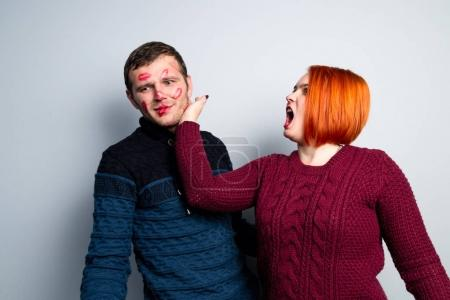 Girl beats her kissed in tracks of lipstick guy, husband changed