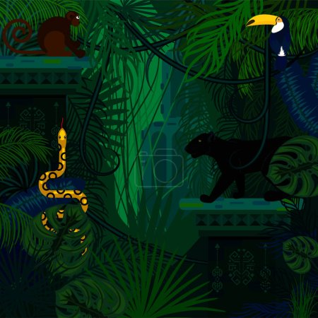 Rainforest wild animals and plants vector backgrou...