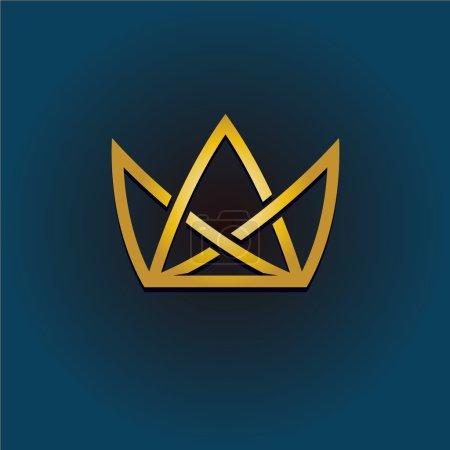 Illustration pour Couronne dorée logo linéaire. Illustration de couronne de style simple . - image libre de droit