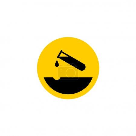 Warning acid icon. Test-tube with acid drop.