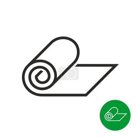 Roll of camping or fitness carpet icon