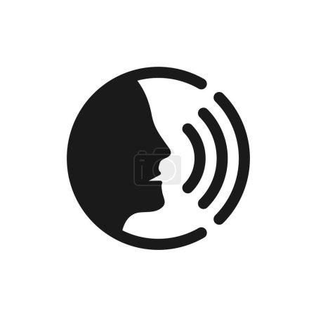 Illustration pour Commande vocale avec icône d'ondes sonores. Homme noir tête silhouette parlant logo. - image libre de droit