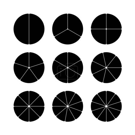 Circle segments set. Black with rounded corners.