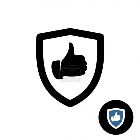 Shield with like hand thumbs up icon