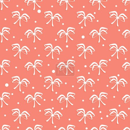 Illustration for Seamless bows pattern. Living coral vector background - Royalty Free Image