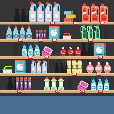 Cleaner on a shelf in a supermarket. Detergent shop.