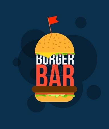 Burger bar print design for cafe