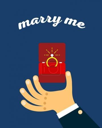 Bague de fiançailles en boîte. Carte de mariage