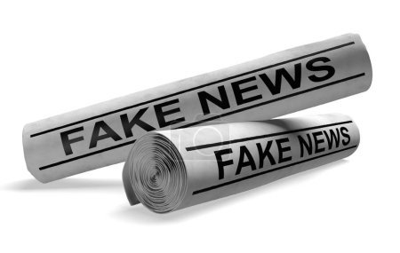 Photo pour Deux journaux roulés avec des titres qui disent de fausses nouvelles, rendues en 3D sur un fond blanc . - image libre de droit