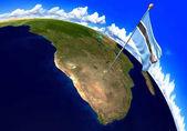Botswana státní vlajka označení země umístění na mapě světa. 3D vykreslování, části tohoto obrázku jsou podle Nasa