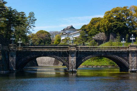 Historic Seimon Ishibashi Bridge and guard tower turret at Tokyo Imperial Palace in Japan