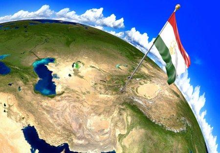 Photo pour Reproduction en 3D du drapeau national du Tadjikistan sur la situation géographique du pays sur une carte du monde. Parties de cette image fournies par la NASA . - image libre de droit