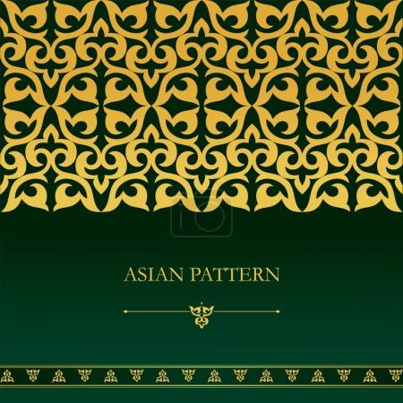 Seamless asian border. Set of luxurious Asian gold patterns on a