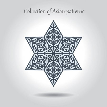 A beautiful hexagonal star with Asian patterns inside.A separate