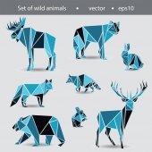 A set of eight animals Wild animals in the flat Graphics Illus
