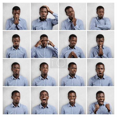 Set of African man dressed in blue shirt showing different emotions: sadness, surprise, anger. Collage of emotional male demonstrating various feelings and making diverse gestures on white background