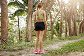 Rear view of female jogger with athletic body and long braid dressed in sportswear standing on trail in park preparing to run. Woman runner training for marathon on forest path in amazing nature