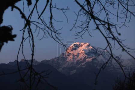 mountains with white craggy peak covered with snow