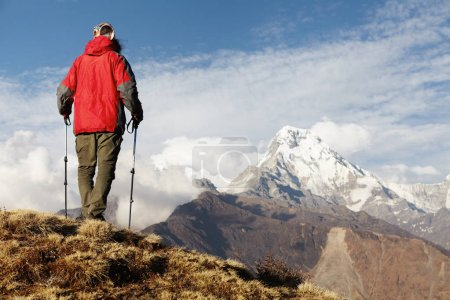 Unrecognizable hiker standing on top of mountain with his back to camera, holding trekking poles and enjoying amazing view in front of him: gigantic white snow capped mountain summits and passes