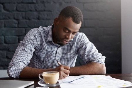 African office worker handwriting