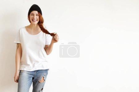 girl wearing black stylish hat