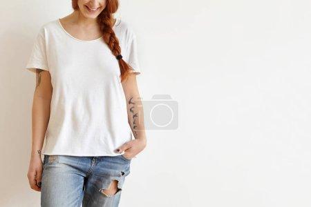 redhead woman smiling