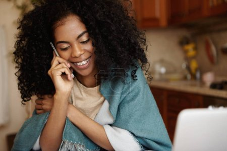 female having nice phone conversation