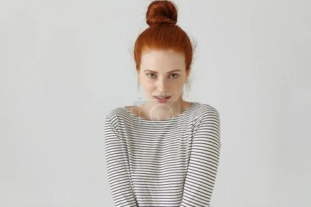 redhead European girl with freckles