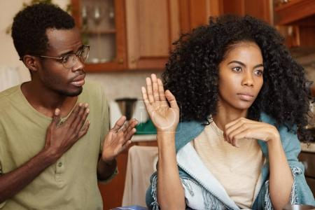 Afro-American girl feeling mad at husband