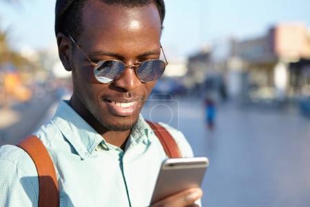 man messaging via social networks