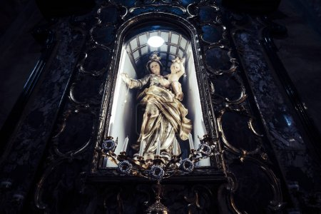 icon of madonna christian woman church with dark light for faith concept