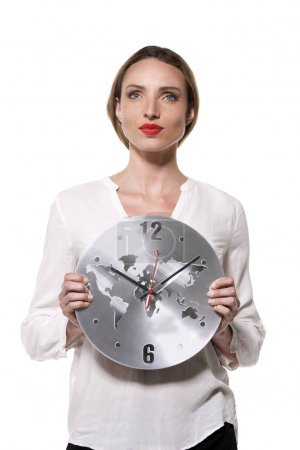 Pensive Woman holding a clock