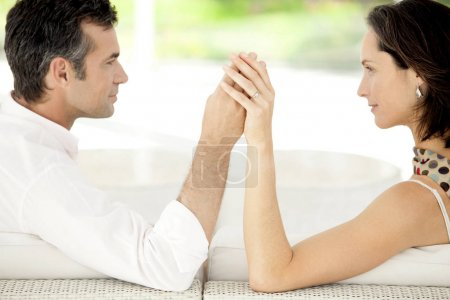 Mature couple flirting