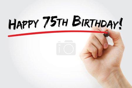 Photo pour Écriture à la main Joyeux 75e anniversaire avec marqueur, fond de concept de vacances - image libre de droit