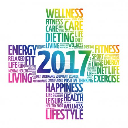 Illustration for 2017 Goals Health word cloud, health cross concept - Royalty Free Image