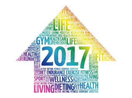 2017 Goals arrow health word cloud, health concept
