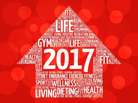 Illustration for 2017 Goals arrow health word cloud, health arrow concept - Royalty Free Image