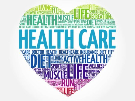 Illustration for HEALTH CARE heart word cloud, fitness, sport, health concept - Royalty Free Image