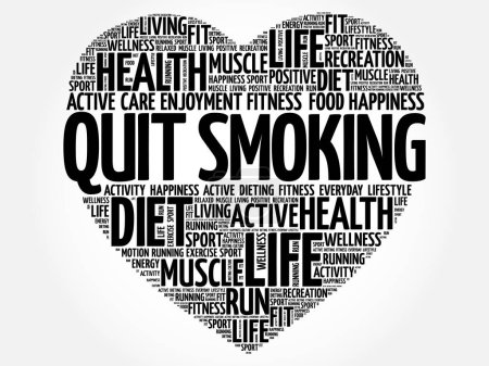 Illustration for Quit Smoking heart word cloud, fitness, sport, health concept - Royalty Free Image