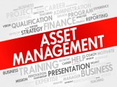 Asset Management word cloud collage business concept background