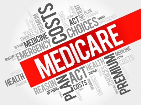 Illustration for Medicare word cloud collage, health concept background - Royalty Free Image