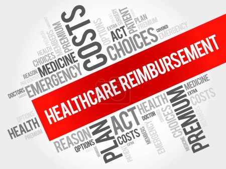 Illustration for Healthcare Reimbursement word cloud collage, health concept background - Royalty Free Image