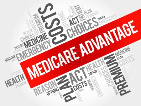 Illustration for Medicare Advantage word cloud collage, health concept background - Royalty Free Image