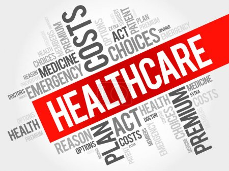 Illustration for HealthCare word cloud collage, health concept background - Royalty Free Image